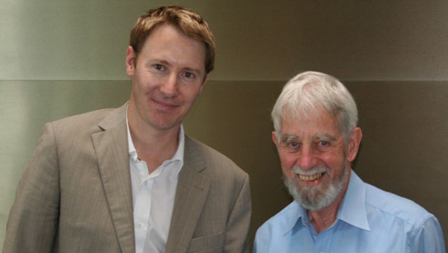 Benjamin Northey, Patricia Riordan Associate Conductor Chair, with Roger Riordan AM, Founder of the Cybec Foundation