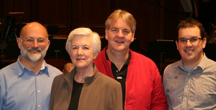(L-R) Steve Reeves, Principal Double bass; Joy Selby Smith; Brett Kelly, Principal Trombone and Matthew Tomkins, The Gross Foundation Principal Second Violin Chair. Joy's support underpins the MSO's Orchestral Leadership Program.