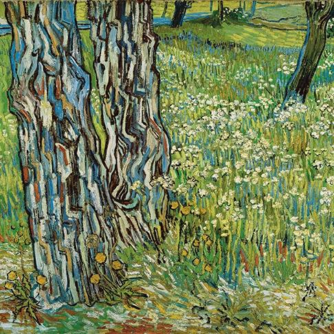 Tree trunks in the grass late April 1890 Saint-Rémy, oil on canvas, Vincent van Gogh