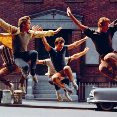 "a description of the west side story one of the best plays by arthur laurents [clip: the orchestra plays the opening bars of west side story's ""i feel pretty""]   and of course one of the most famous scenes in west side story,  who had  known each other for ages, and arthur laurents got together."