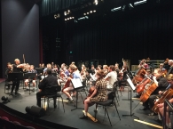Ballarat Grammar students performing with MSO Concertmaster, Dale Barltrop and members of the MSO.