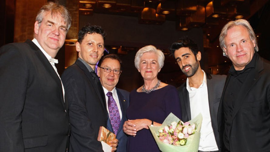 L-R Brett Kelly, Julian Langdon, Harold Mitchell AC, Joy Selby Smith, Elias Constantopedos and Markus Stenz, following announcement of the Joy Selby Smith Orchestral Leadership Chair at our Act III Closing Party on 22 August