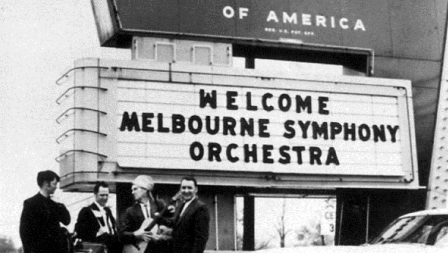 MSO musicians ham it up for the camera during the 1970 US Tour